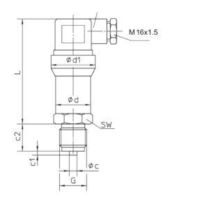 Kích thước cảm biến 0-25bar - JSP