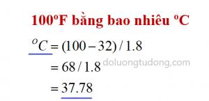 Ví dụ đổi độ F sang độ C
