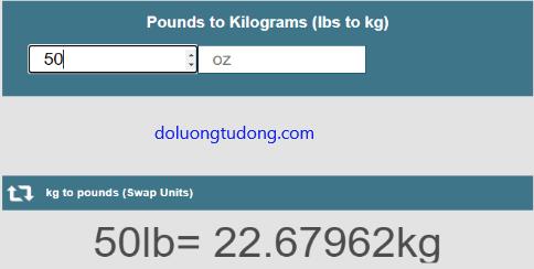 Chuyển đổi 50 lps sang Kg