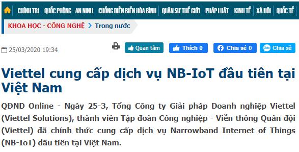 NB-IoT được Viettel sử dụng cho kết nối IoT của mình