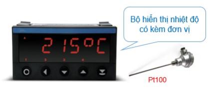 Ứng dụng hiển thị nhiệt độ kèm đơn vị đo