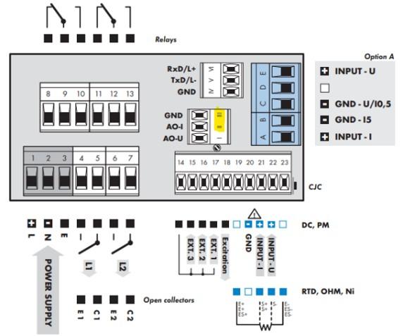 Đấu nối cảm biến nhiệt độ Pt100 với bộ điều khiển OM352UNI
