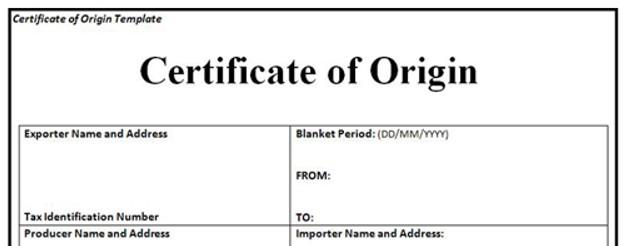 CO - Certificate of Origin