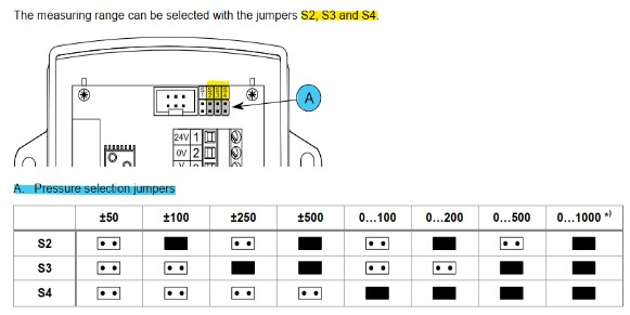 Cách cài dãy đo cảm biến chênh áp PEL