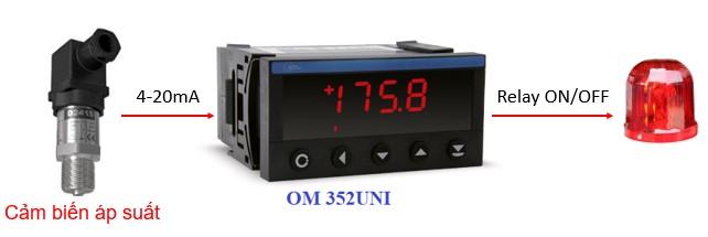 Ứng dụng hiển thị cảm biến áp suất và ngõ ra relay ON/OFF