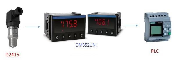 Ứng dụng hiển thị áp suất của bộ OM352UNI